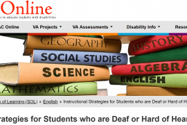 """This screenshot taken from the TTAC Online web page shows navigation bar at the top, an image of two stacks of books labeled as """"science"""", """"social studies"""", """"algebra"""" and other academic topics. Below the books is the title of the article, """"Instructional Strategies for Students who are Deaf or Hard of Hearing"""""""