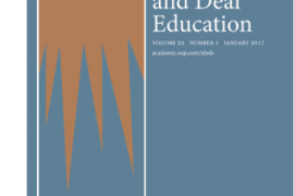 Image shows cover of the Journal of Deaf Studies and Deaf Education. Cover has a blue background with orange rays spreading downwards.
