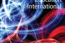 "Image shows the cover of an issue of a journal called ""Deafness & Education International"". Cover of Deafness and Education International:. The background is in black with swirls of white red yellow and blue lights sweeping across the page in abstract curvy patterns."