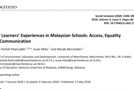 """Screenshot shows the header of the article entitled """"Deaf Learners's Experiences in Malaysian Schools: Access, Equality, and Communication"""""""