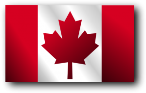 The flag of Canada, which shows a red maple leaf on a white background. To the left and right of the maple leaf are broad vertical stripes of red.