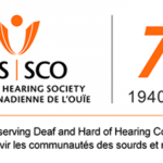 "Logo for the Canadian Hearing Society shows its acronyms according to both its English name (CHS) and its French name (Societe Canadienne de L'ouie, SCO). At the bottom is its slogan in both English and French, ""Proudly serving Deaf and Hard of Hearing communities; Fiere de servir les communautes des sourds et malentendants"""