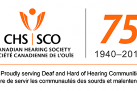 """Logo for the Canadian Hearing Society shows its acronyms according to both its English name (CHS) and its French name (Societe Canadienne de L'ouie, SCO). At the bottom is its slogan in both English and French, """"Proudly serving Deaf and Hard of Hearing communities; Fiere de servir les communautes des sourds et malentendants"""""""