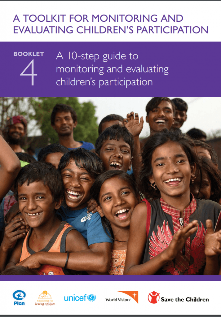 "Cover for ""A Toolkit for Monitoring and Evaluating Children's Participation"". Shows a picture of many children crowded together, smiling at the camera."