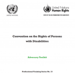 Cover for the Convention on the Rights of Persons with Disabilities Advocacy Toolkit. Above the title are the logos for the United Nations and for the United Nations Office of the Commissioner for Human Rights
