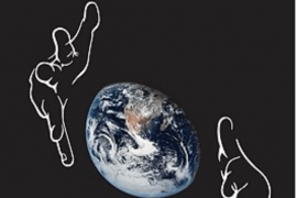 """Cover of the book """"Deaf Around the World: The Impact of Language"""". Below the title is a picture of a partly eclipsed Earth bracketed by a pair of hands."""