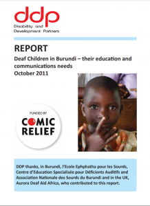 "Cover of the report ""Deaf Children in Burundi--their education and communication needs"". Below the title is a photo of a young child looking at the camera."