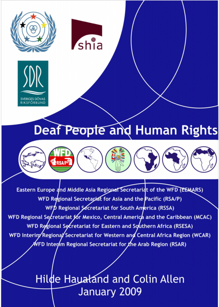 """Cover of the report """"Deaf People and Human Rights"""" by Hilde Haualand and Colin Allen in January 2009."""