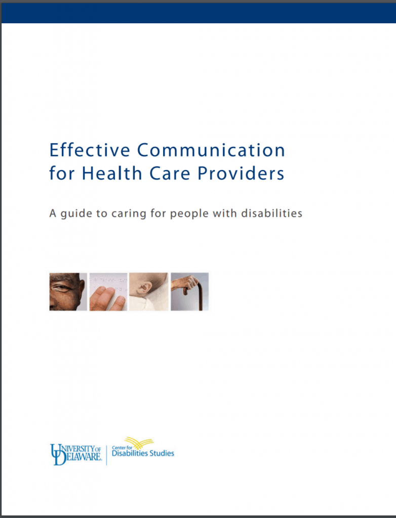 "Cover of publication ""Effective Communication for Health Care Providers: A guide to caring for people with disabilities"""