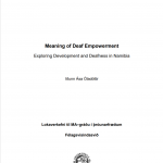 "Cover of the publication entitled ""Meaning of Deaf Empowerment. Exploring Development and Deafness in Namibia"""