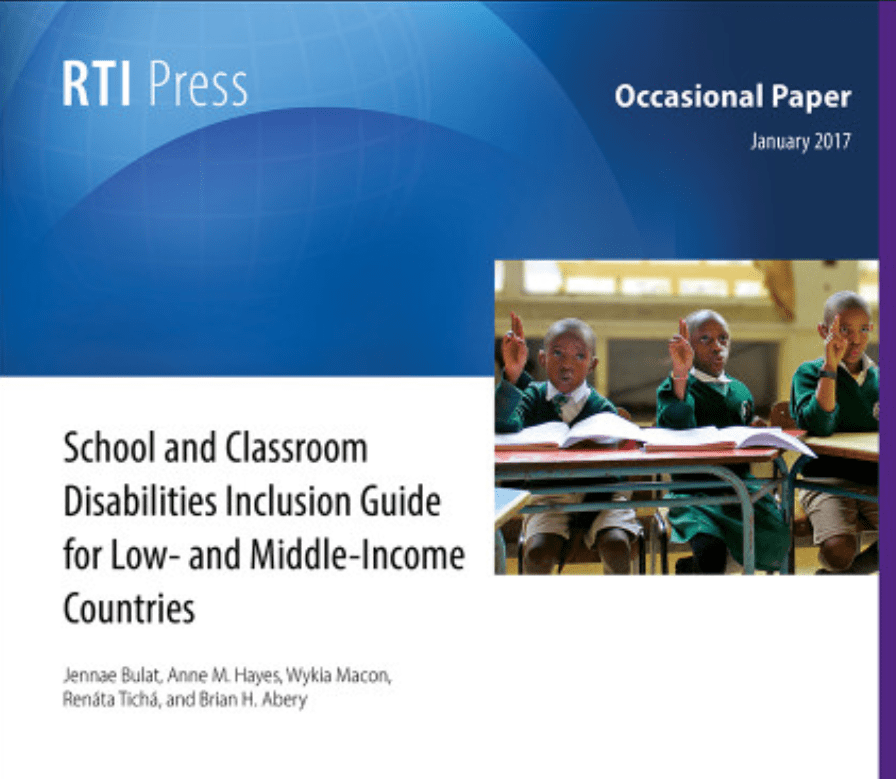 "Cover for the publication entitled ""School and Classroom Disabilities Inclusion Guide for Low- and Middle-Income Countries"". The picture on the cover shows a classroom of young school children in school uniforms seated in rows at their desks."