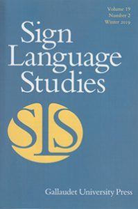 Cover for an issue of the Sign Language Studies journal.