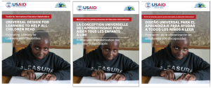 "Screenshots for three copies of the toolkit, ""Universal Design for Learning to Help All Children Read: Promoting Literacy for Learners with Disabilities"", in English, French, and Spanish."