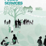 "Cover of a publication entitled ""Valuing Public Services"". A drawing shows the outline of a tree. Silhouette figures of people are variously standing, walking, or seated on the ground at varying distances from the tree."
