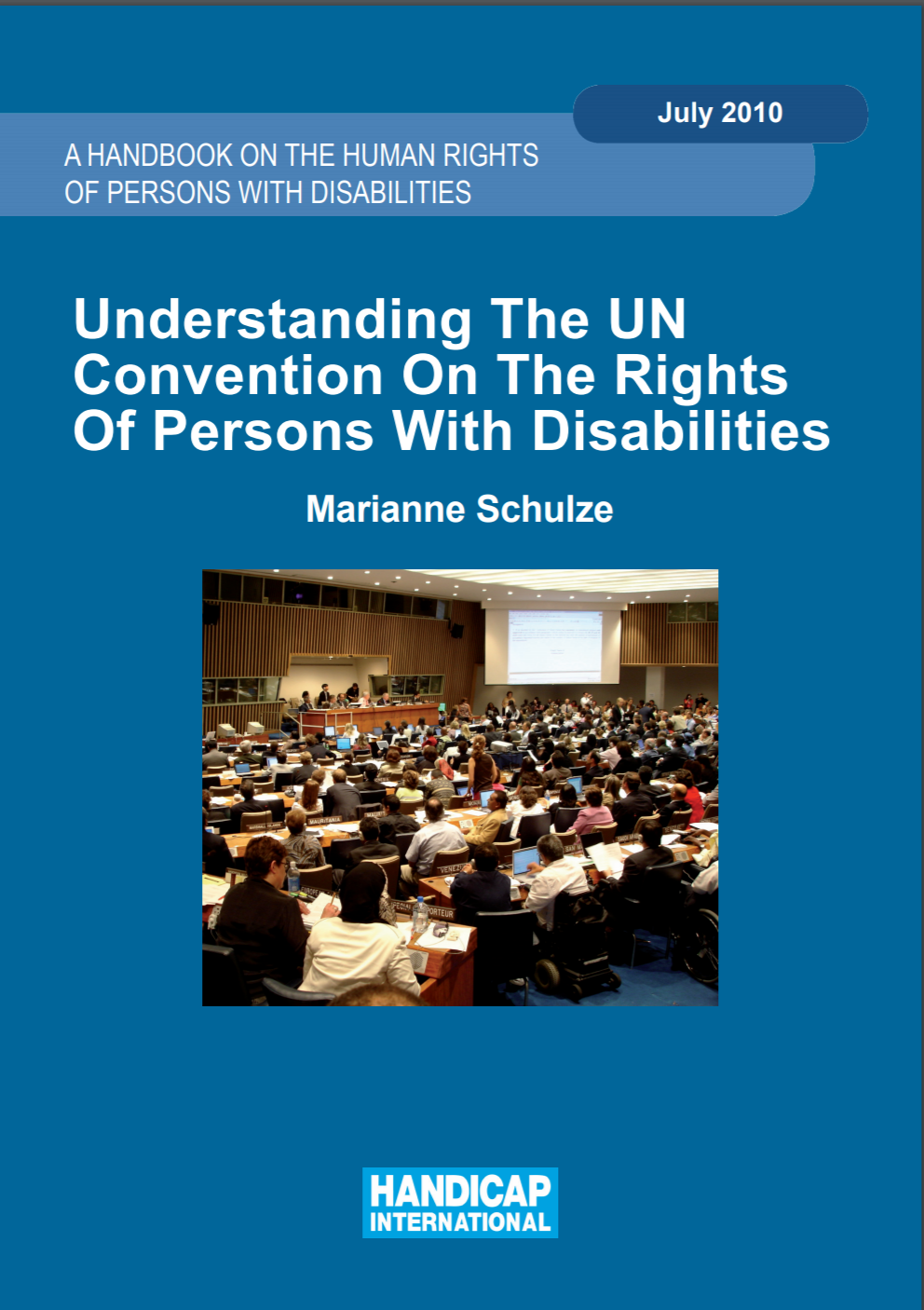 """Cover for CRPD handbook entitled """"A Handbook on the Human Rights of Persons with Disabilities: Understanding the UN Convention on the Rights of Persons with Disabilities"""""""