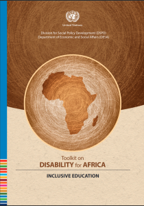 "Cover for ""Toolkit on Disability for Africa: Inclusive Education"" on disability-inclusive education in Africa"