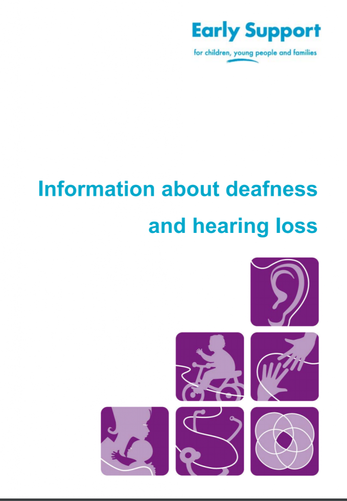 """Cover of manual entitled """"Early support for children, young people, and families: Information about deafness and hearing loss"""". Below the title are six purple squares stacked on top of each other. Each square shows an abstract drawing. The top square shows an ear, the next two show a child on a bike and two hands reaching to each other, the bottom three squares show a parent with a child, and two abstract line drawings."""