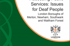 """Cover of report entitled """"Accessing Public Services: Issues for Deaf People"""" by the British Deaf Association"""