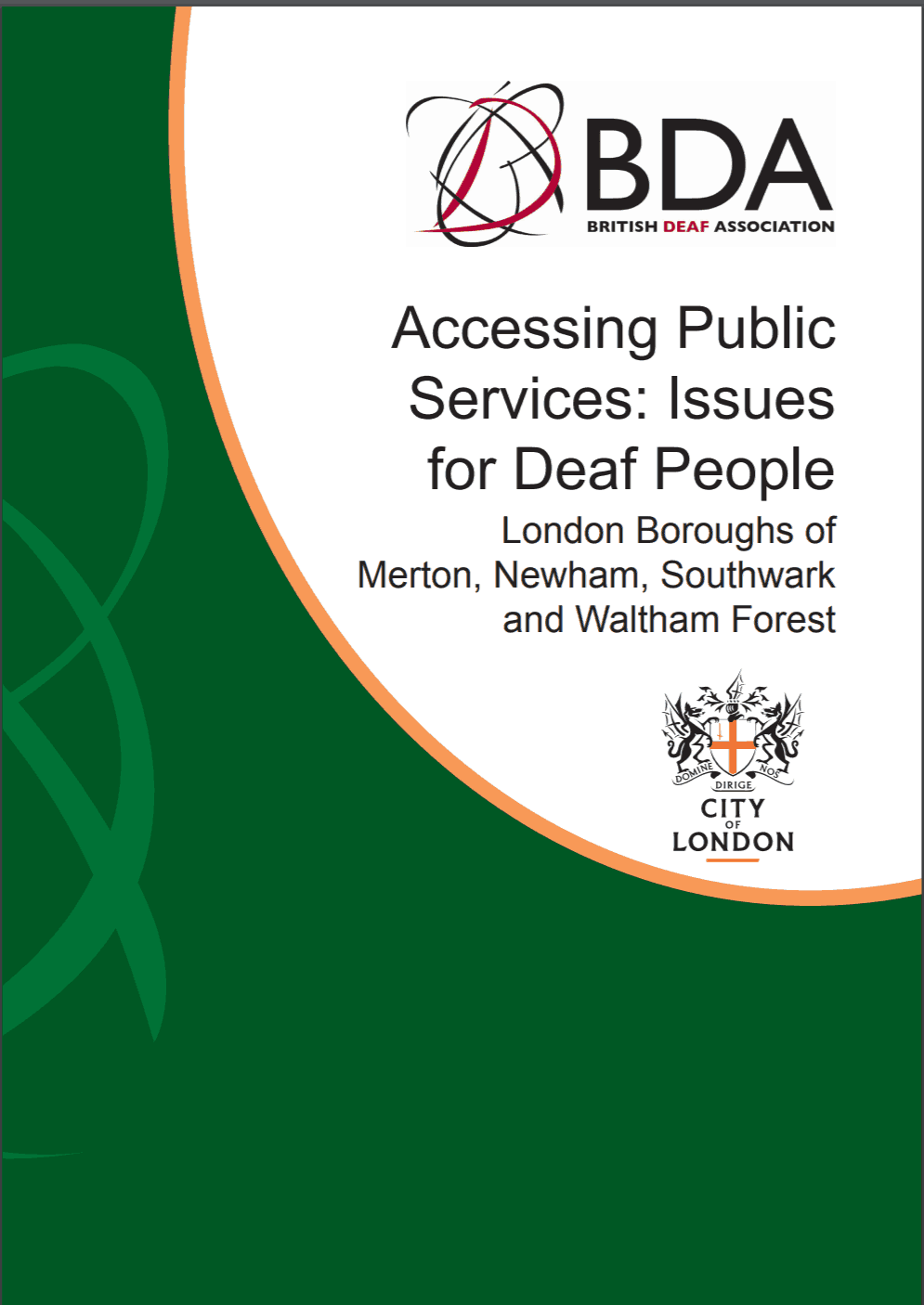 "Cover of report entitled ""Accessing Public Services: Issues for Deaf People"" by the British Deaf Association"