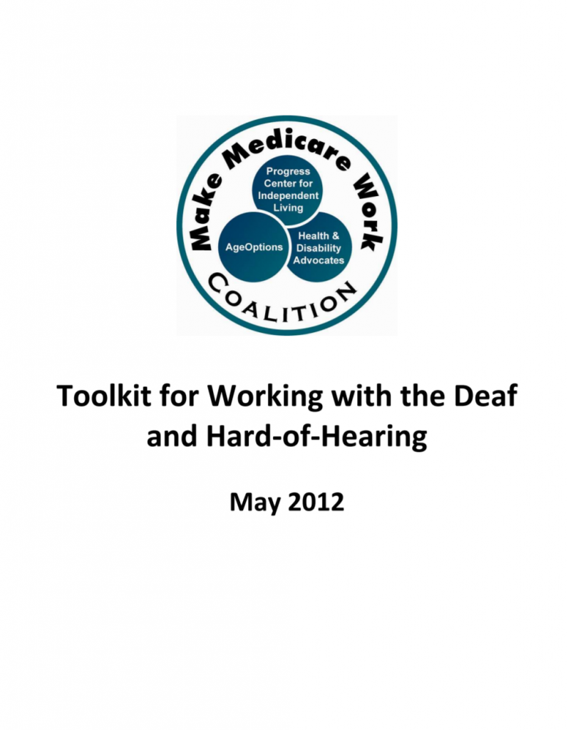 "Cover for ""Toolkit for Working with the Deaf and Hard-of-Hearing"" on communicating with deaf clients"