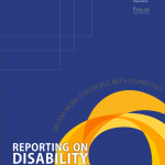 "Cover for the publication entitled ""Reporting on Disability: Guide for Media""."