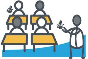 graphic outline icon of a teacher signing to deaf students