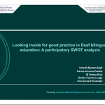 "Screenshot of the first slide of Power Point entitled ""Looking inside for good practice in Deaf bilingual education: A participatory SWOT Analysis"""