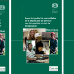 "Three copies of the cover of the publication entitled ""Achieving Equal Employment Opportunities for People with Disabilities through Legislation"" are shown side by side, the first in English, second in Spanish, and third in French. Below the title is a collage of photos of people in various types of employment."