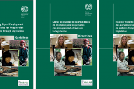 """Three copies of the cover of the publication entitled """"Achieving Equal Employment Opportunities for People with Disabilities through Legislation"""" are shown side by side, the first in English, second in Spanish, and third in French. Below the title is a collage of photos of people in various types of employment."""
