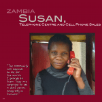 A page from a publication on women entrepreneurs with disabilities shows a photo of Susan, a Deaf woman entrepreneur in Zambia.