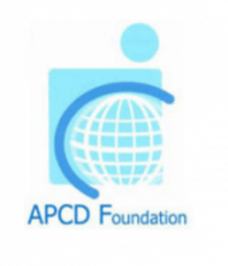 Logo for the APCD Foundation. Above the name of the organization is a globe, A blue line is wrapped part way around it. A square is behind the globe, a small circle is above the square.