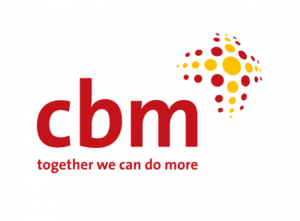 "Logo for the Christian Blind Mission shows the acronym cbm in lower case letters. Red and yellow dots to the right and above the acronym are organized to resemble the cross. The slogan ""together we can do more"" is below the acronym."
