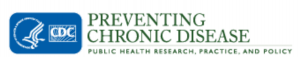 """The logo for the Centers for Disease Control and prevention (CDC) in the United States is at the left. At right is the name of the journal """"Preventing Chronic Disease"""" with its slogan, """"Public Health Research, Practice, and Policy""""."""