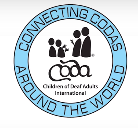 "Logo has the full name of the organization, Children of Deaf Adults International, along with the acronym (coda) inside a circle. Also in the circle is an abstract silhouette of two children signing with two parents. Around the circle is the slogan ""Connecting Codas around the world."""