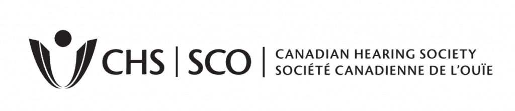 The logo for the Canadian Hearing Society (Socete Canadienne de L'ouie): at the left is an abstract figure that could represent a person, and the acronyms for the organization in English and French (CHS/SCO).