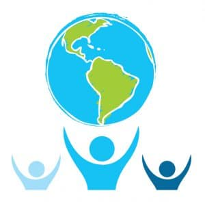 Logo for Deaf Legal Advocacy Worldwide shows a drawing of the globe, with the drawing of three people beneath the globe with their arms above their heads as if ready to hold up the world.