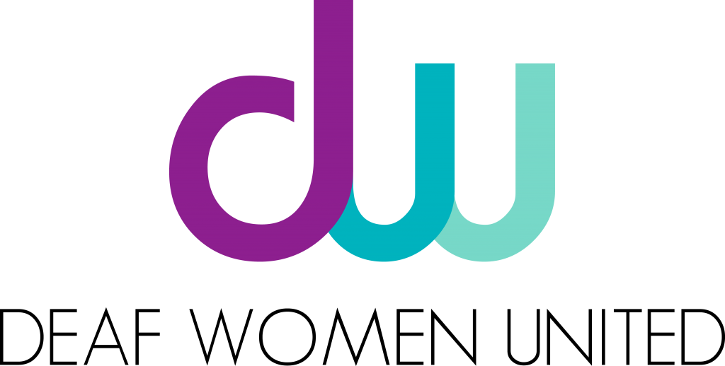 The logo for Deaf Women United shows the name of the organization at the bottom, and the acronym DW in colored letters above the name.