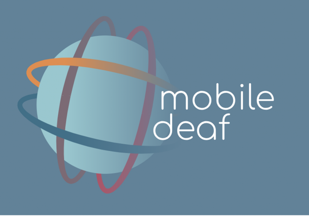 "Logo shows a globe with criss-crossing lines circling it. Next the icon is the name ""mobile deaf"" (in lower case)"