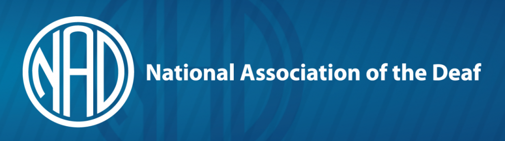 Logo for the National Association of the Deaf in the United States has the acronym NAD inside a circle to the left of the organization's name.