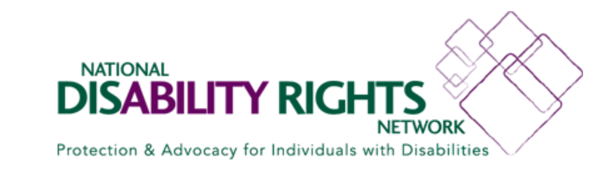 """Logo for the National Disability Rights Network. To the right of the organization's name is a group of overlapping squares. Below the name is the organization's motto, """"Protection & Advocacy for individuals with Disabilities""""."""