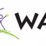 Logo of the Wisconsin Assistive Technology Initiative has a stick figure drawing of an adult next to a small child, each holding a yellow star. To the right of the drawing is the acronym, WATI.