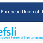 At top is the logo for the European Union of the Deaf. At bottom is the logo for the European Forum of Sign Language Interpreters.