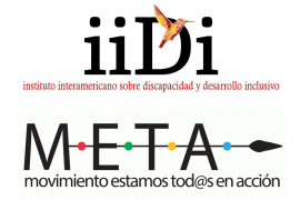 The logo for the Inter-American Institute on Disability and Inclusive Development (IIDI) and the logo for the project Movimiento estamos tod@s en acción (META).