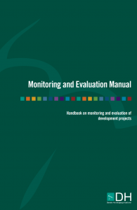 "Cover of the publication entitled ""Monitoring and Evaluation Manual: Handbook on monitoring and evaluation of development projects"""