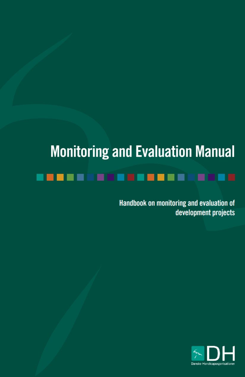 """Cover of the publication entitled """"Monitoring and Evaluation Manual: Handbook on monitoring and evaluation of development projects"""""""