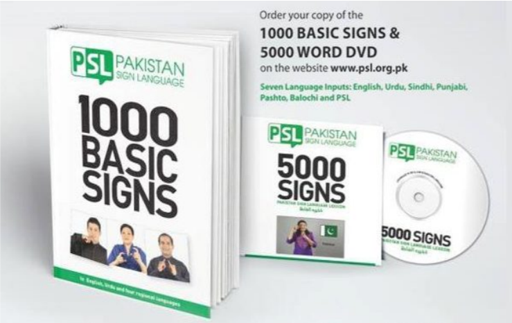 "Photo shows a book entitled ""1000 Basic Signs"" with a DVD entitled ""5000 Signs"". The advertising copy with the photo invites readers to order a copy via www.psl.org.pk"