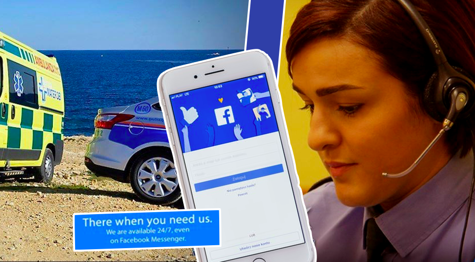 Photos show a police car, a phone call operator, and a smart phone showing Facebook messenger.