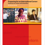 "Cover of the publication entitled ""Preparing for an international career: Pathways for people with disabilities"". Below the title are pictures of three people at work."