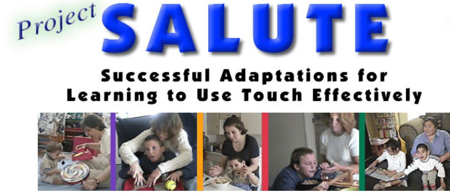 """At the top of the banner it says """"Project Salute: Successful Adaptations for Learning to Use Touch Effectively."""" Below that are five different photos of various adults working with young DeafBlind children and infants."""