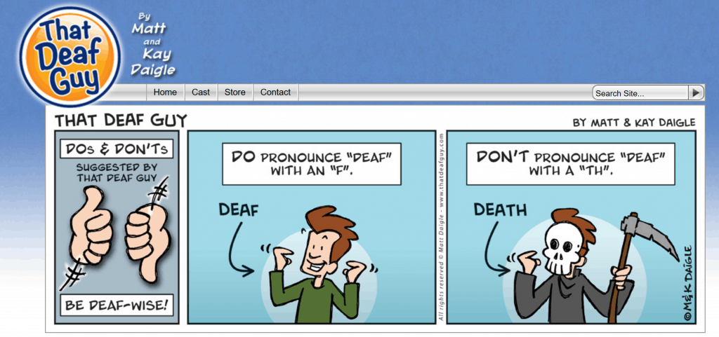 "Screenshot from the ""That Deaf Guy"" comic strip website by creators Matt and Kay Daigle."